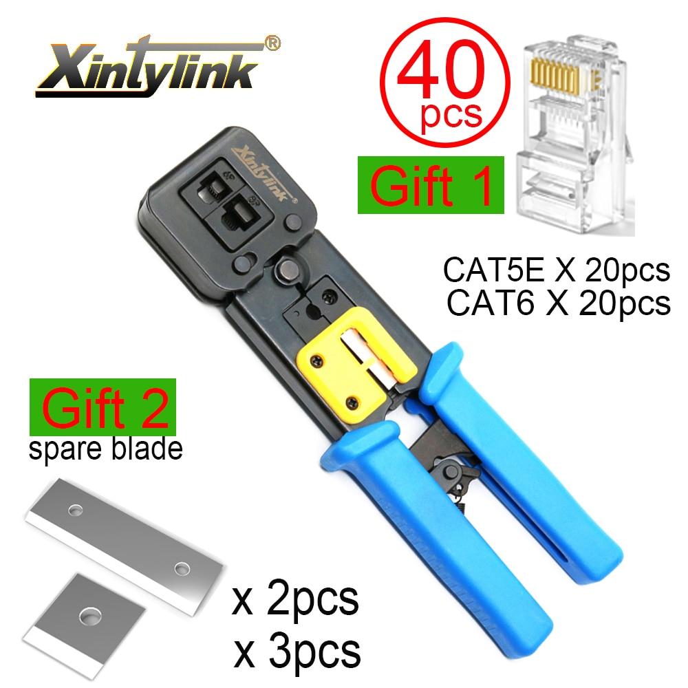 Xintylink rj45 المكشكش سلك شبكة أدوات كماشة rj12 cat5 cat6 rj 45 مقشر كابل العقص المشبك ملقط كليب متعددة الوظائف