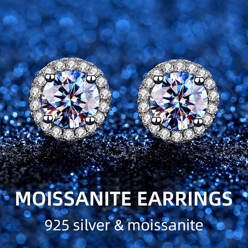 NYMPH 100% مويسانيتي أقراط مستديرة الماس 0.5ct vvs D اللون 925 فضة صديقة هدية عيد ميلاد رائعة مجوهرات e1