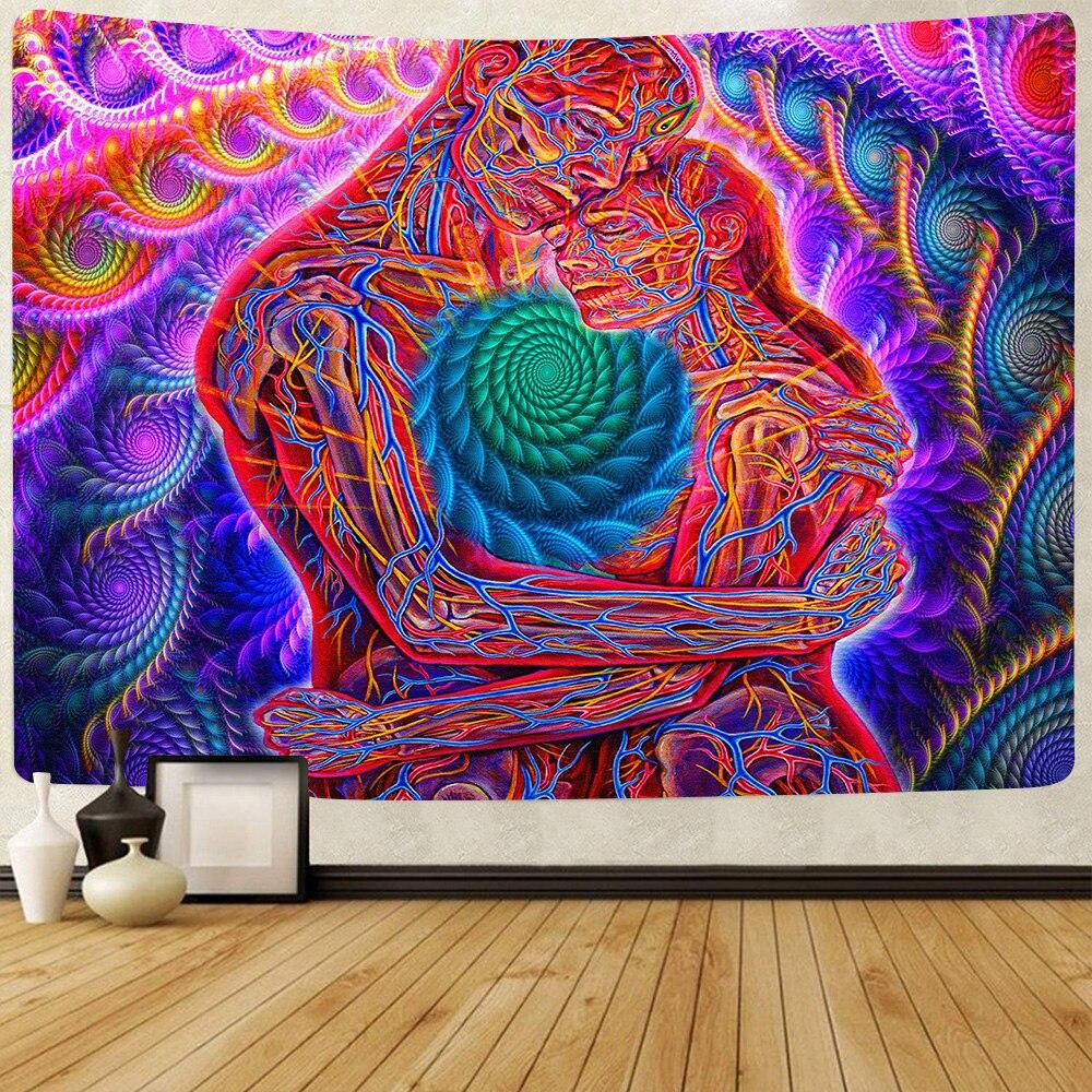 Simсант трипси-психоделический гобелен, поцелуи влюбленные, искусство, настенные подвесные гобелены для гостиной для дома и общежития Декор