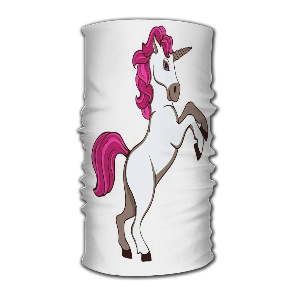 Headband Cute White Unicorn with Pink Tail and Mane Bandana Helmet Liner Balaclava Tube Mask