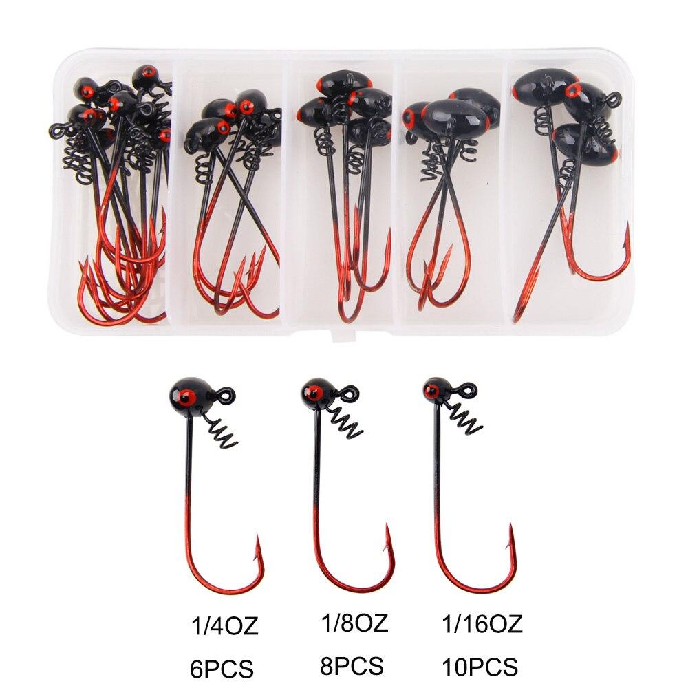24pcs/box jig lead head Barbed fishing hook 1/16OZ 1/8OZ 1/4OZ with bait lock screw FishHooks for Texas Rigs fishing kit