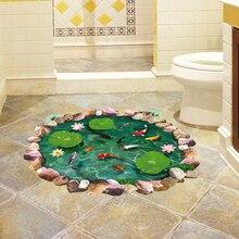 Lotus étang 3D autocollants de sol poisson dans leau Stickers muraux PVC vinyle décor à la maison salle de bains chambre étage décoration étanche