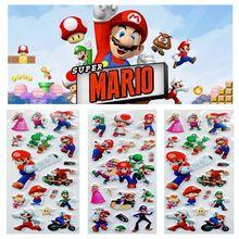 Autocollants colorés Super Mario frères, peinture murale, jouet cadeau pour enfant, 6 pièces/lot