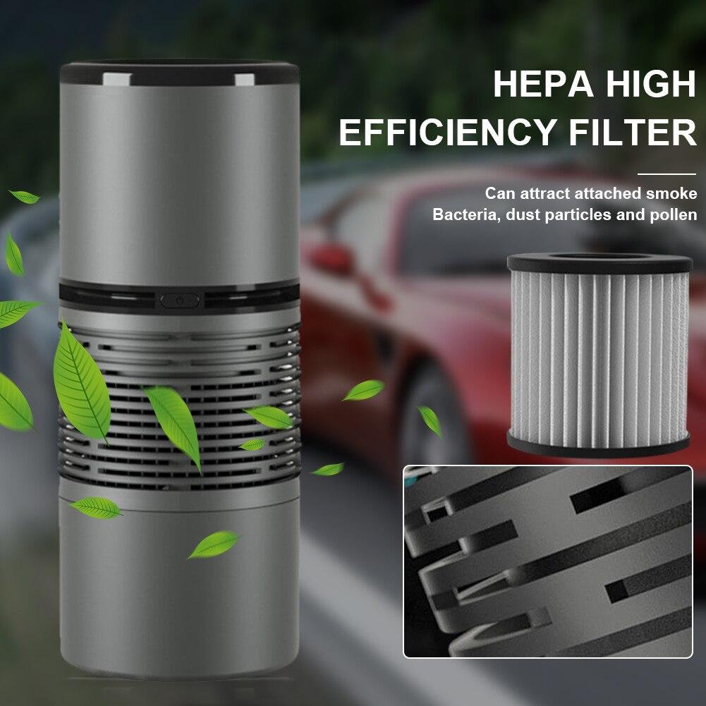 Автомобильный очиститель воздуха, HEPA-очиститель воздуха с отрицательными ионами, питание от USB, портативный мини-освежитель воздуха для авт...