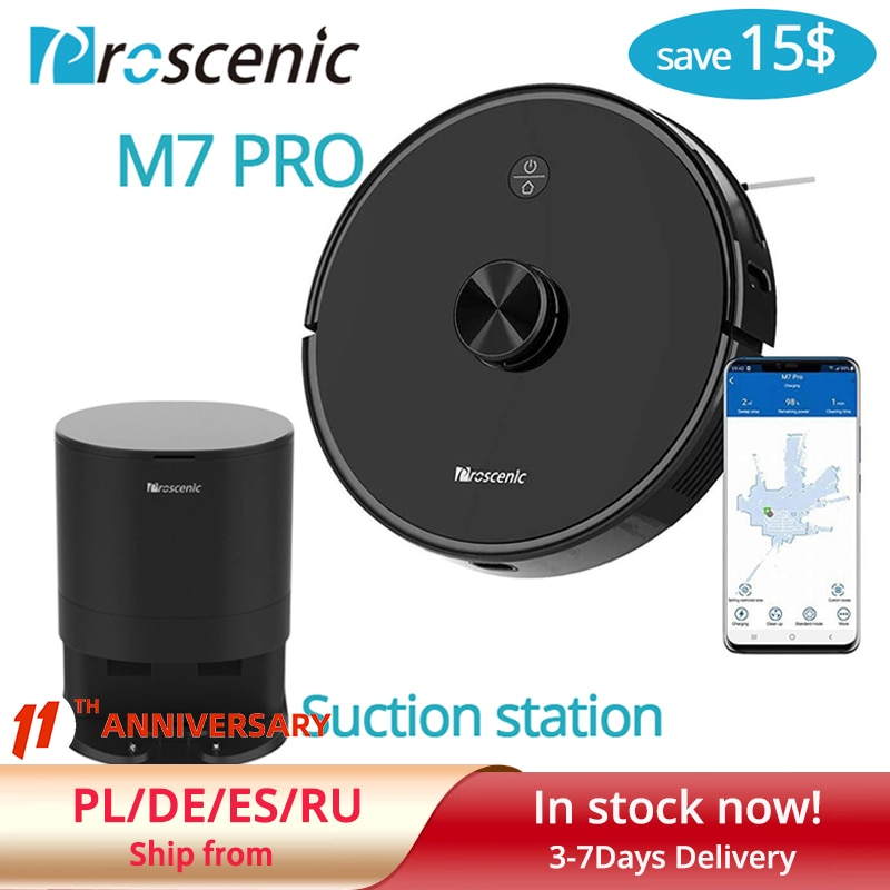 Proscenic M7Pro Sweeper Laser Navigation 2700pa Robot dust bin collecto with Wet Washing Vacuum Cleaner Carpet cleaner for Home