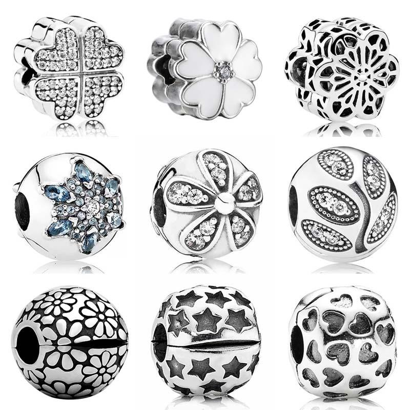 Copos de nieve cristalizados deslumbrantes margaritas Flor de primavera Clip tapón cuenta ajuste Pandora pulsera 925 joyas de plata con encanto