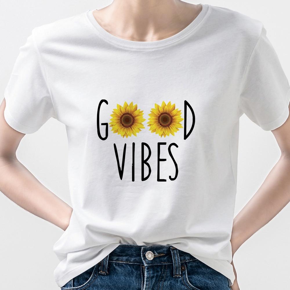 Женская футболка с коротким рукавом Good Vibes, креативный дизайн, осенняя одежда для женщин, 2021