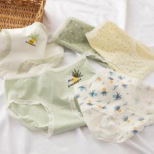 Japanese Small Fresh Pineapple Panties Girly Underwear Cotton Crotch Mid-Waist Briefs Ladies Panties