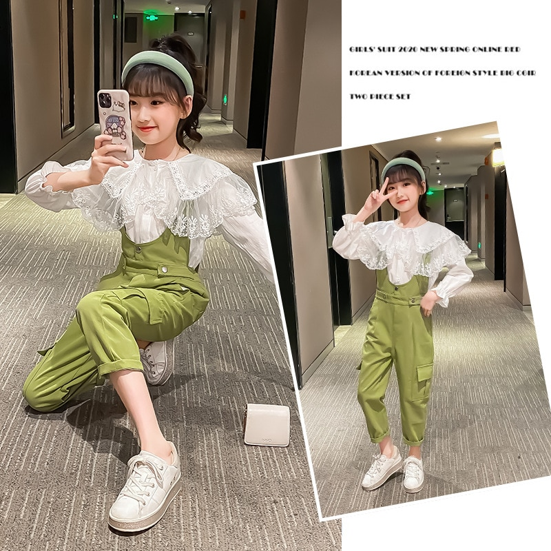 10 12 Year Children Costume 2021 Spring Autumn Fashion Suit Solid Korean Cute Embroidery Long-Sleeve Lace Top + Pants Two Piece