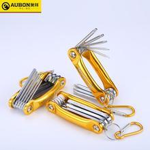 AUBON 8 IN 1 Faltbare Hexagon/Folding Torx Key Set mit Aluminium Grip Griff Metric Allen Schlüssel Schraubendreher set