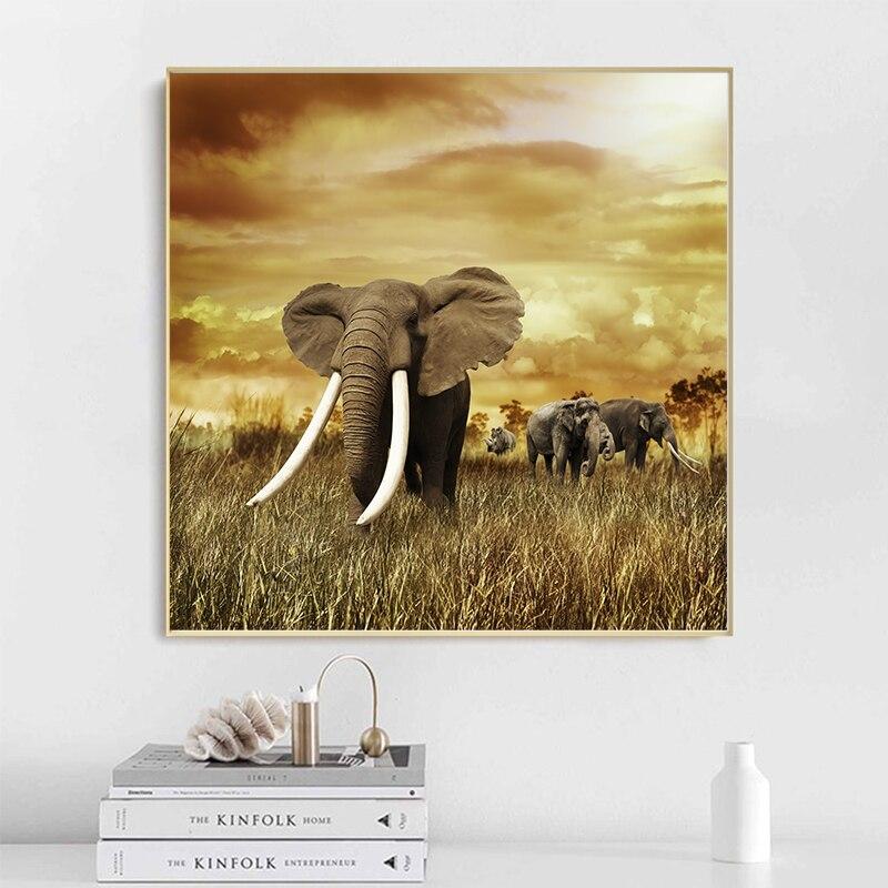 Pintura al óleo de paisaje de animales salvajes de elefante de marfil blanco sobre lienzo carteles e impresiones arte de pared imagen para decoración para sala de estar