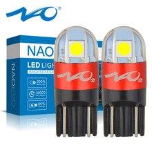 Żarówka LED NAO T10 W5W 3030 SMD 168 194 akcesoria samochodowe światła obrysowe lampka do czytania Auto 12V biały bursztynowy kryształ niebieski czerwony silnik