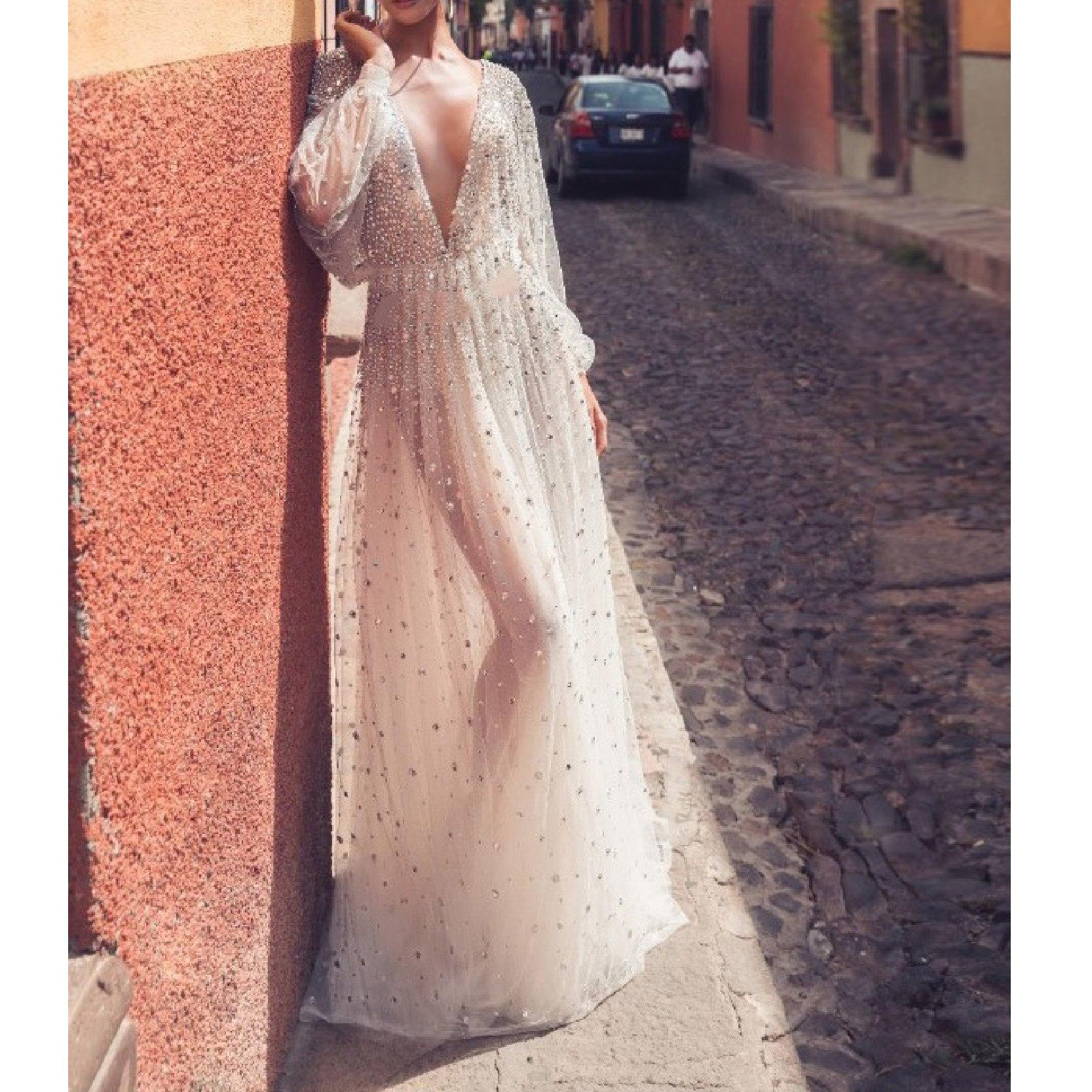 Vestido de señora Con escote en V, malla sin espalda, mangas largas, Vintage, elegante, graduación