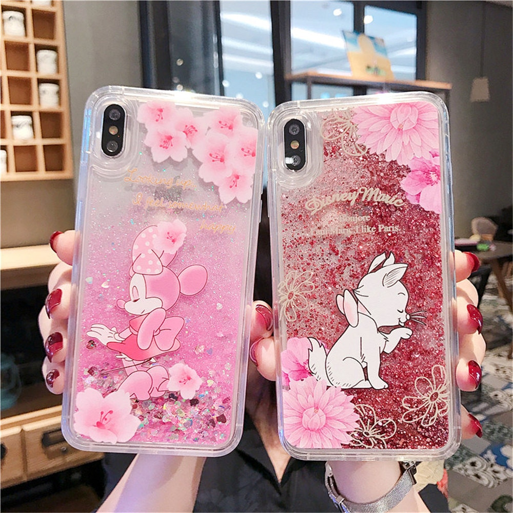 Dibujos Animados Minnie purpurina lentejuelas parpadeantes arena movediza TPU funda de teléfono para iPhone 6S 7 8 Plus X XR XS MAX Rosa Sakura bling cubierta de la