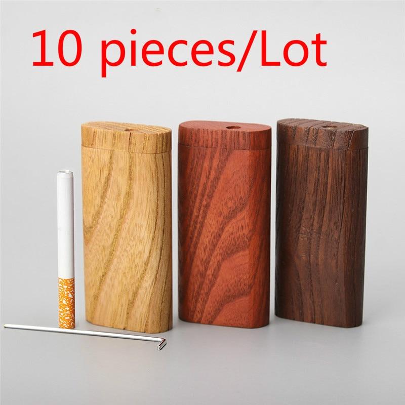 New 10 pcs Smoking Cigarette wood Case Natural Handmade With Ceramic One Hitter Tobacco Smoking Pipes Portable Organizer Box