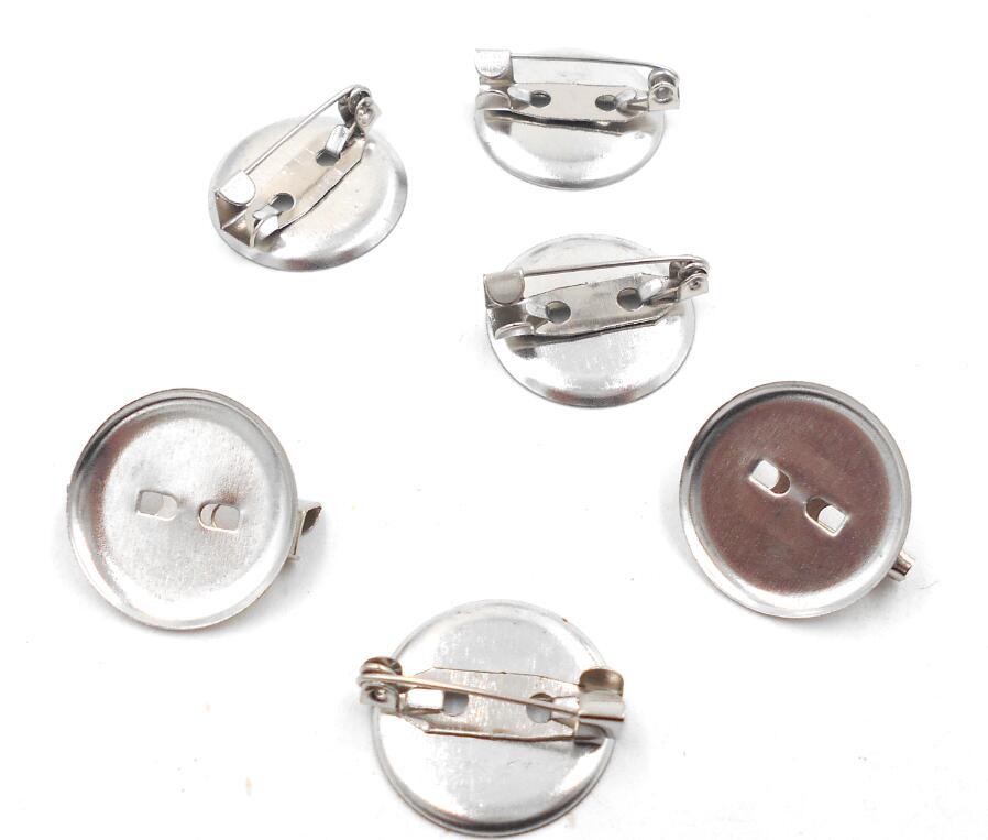 50 unids/lote broche chapado en rodio cabujón en blanco bandejas de hierro posterior broche pegamento Pad DIY accesorios de joyería