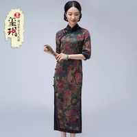 and summer he watered gauze cheongsam daily improved print dress to restore ancient ways in the long tang suit dress