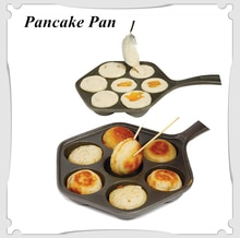 Ferro fundido recheado antiaderente stuffedpancake pan, munk/aebleskiver, casa ferro fundido griddle para vários alimentos esféricos