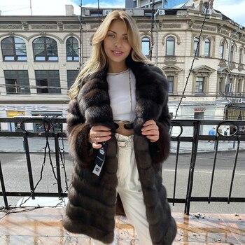 Winter Long Real Fox Fur Coats for Women Trendy Outwear Natural Woman Full Pelt Fox Fur Coat with Turn-down Collar Overcoats