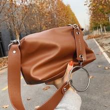 Vintage PU Leather Shoulder Bag for Women Brand Wide Belt Designer ladies Handbags Chain Trendy hobo