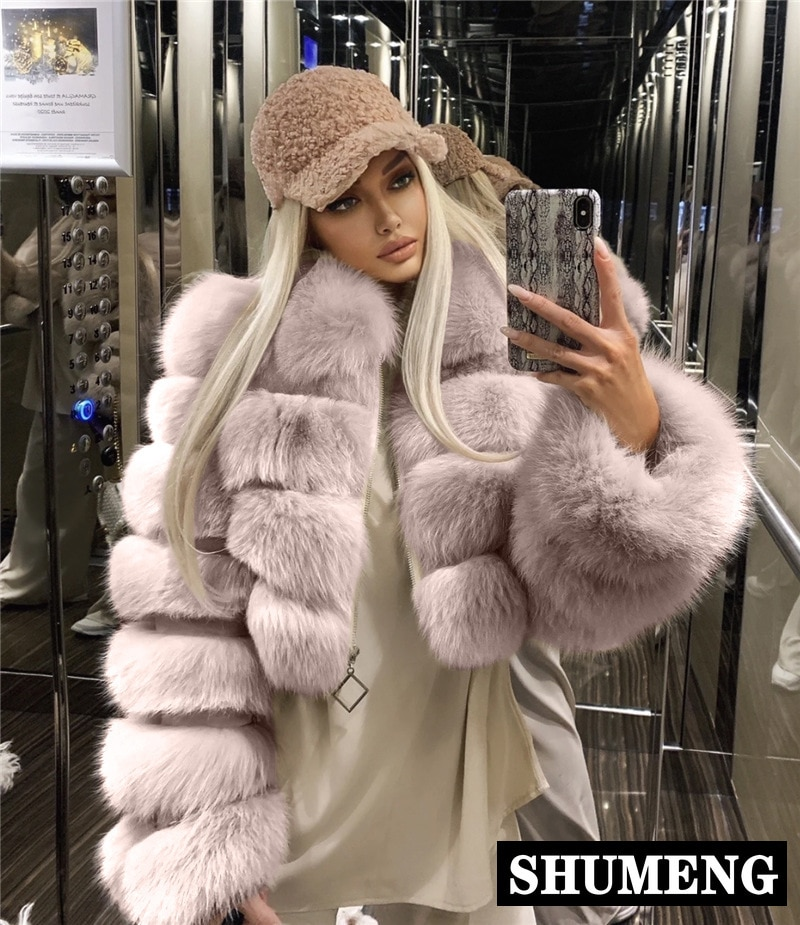 S-4XL زائد الحجم شارع العليا قصيرة الفراء معطف المرأة 2020 الشتاء طويلة الأكمام فو الثعلب الفراء معاطف سيدة الدافئة معطف اقتصاص سترة