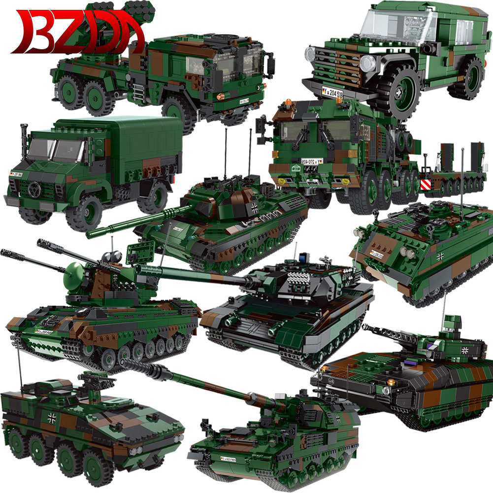 ww2 xingbao the germay leopard 2a6 main battle tank military model armored vehicle building blocks bricks toys birthday gifts XINGBAO Military Technical Tank Mammut Truck Rocket Cannon Armored Car Model Sets Building Blocks MOC WW2 Bricks For Boys Toys