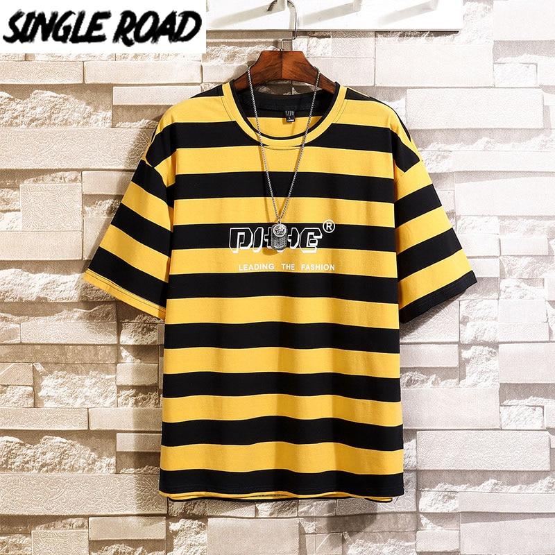 SingleRoad Man's Yellow T-shirt Men Oversized Striped Cotton Punk Hip Hop Japanese Streetwear Harajuku Tshirt Male T Shirt Men