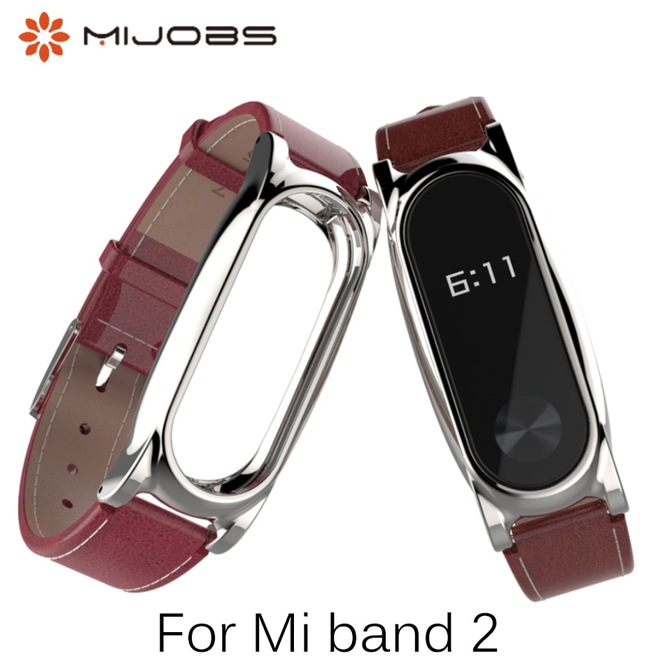 Strap Für Xiaomi Mi Band 2 PU Lederband Metall Rahmen Für MiBand 2 Armband PU Plus lederband Für mi Band 2 Zubehör