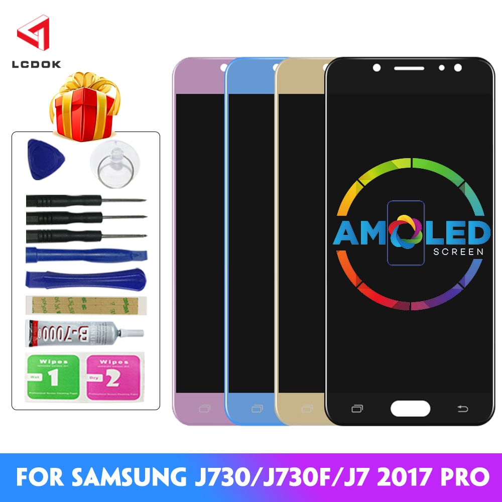 J7 Pro Super AMOLED LCD For Samsung Galaxy J730 J7 2017 J730F J730G J730GM LCD Display Touch Screen Digitizer Assembly Parts