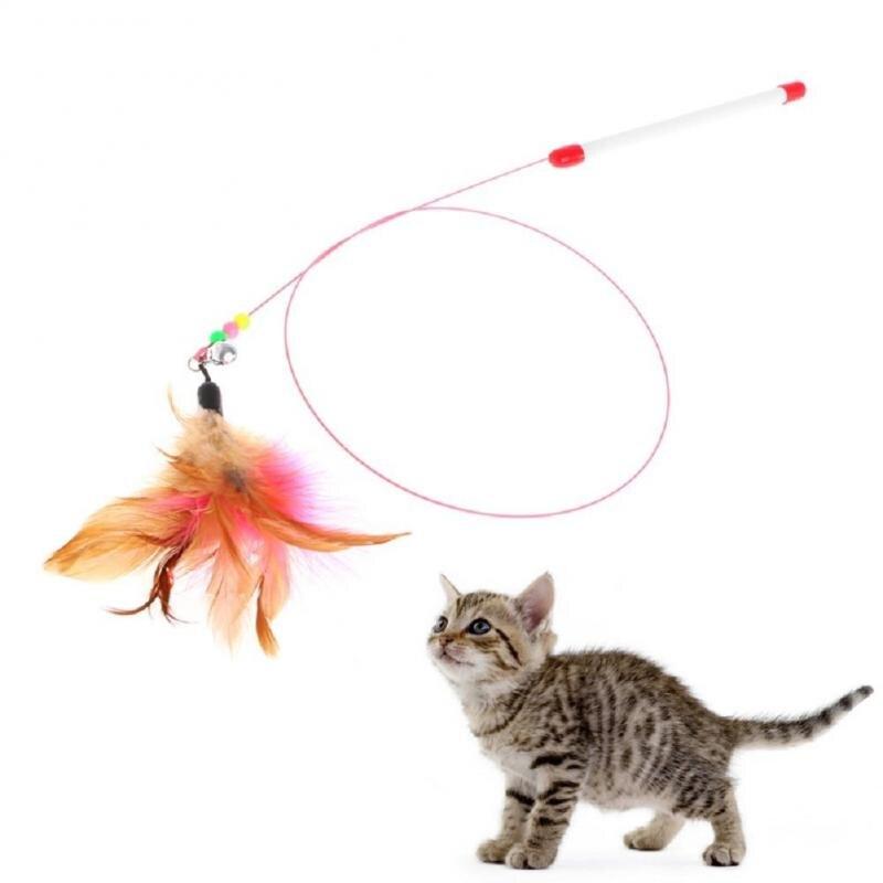 Bâtonnets de chat Tease plumes colorées chat   Jouet amusant interactif chaton chat, fil en acier coloré bâton de chat amusant avec cloche