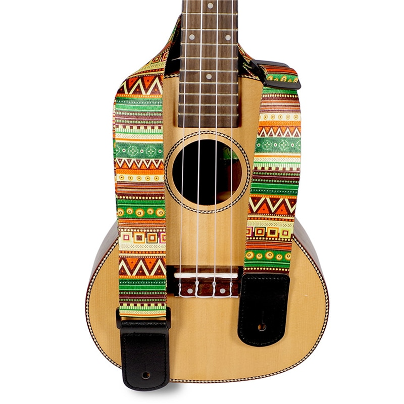 National Style Printing Acoustic Folk Guitar Straps Adjustable Thickened Leather End Electric Guitar Bass Ukulele Straps Belts