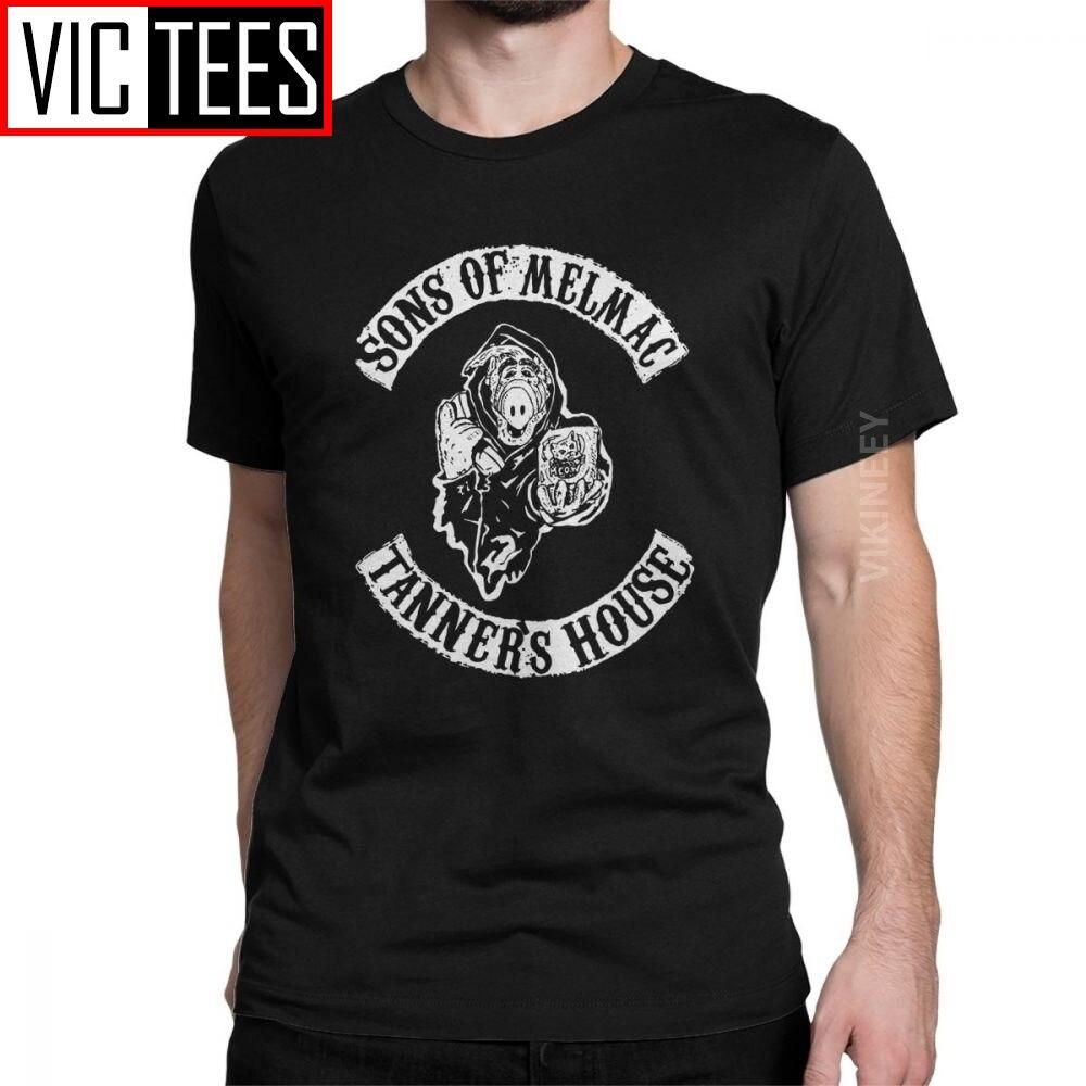 Camiseta de los hombres de los hijos de Melmac Mashup Alf T camisa de algodón de comedia de televisión Gordon comedia Cat serie alienígena de gran tamaño