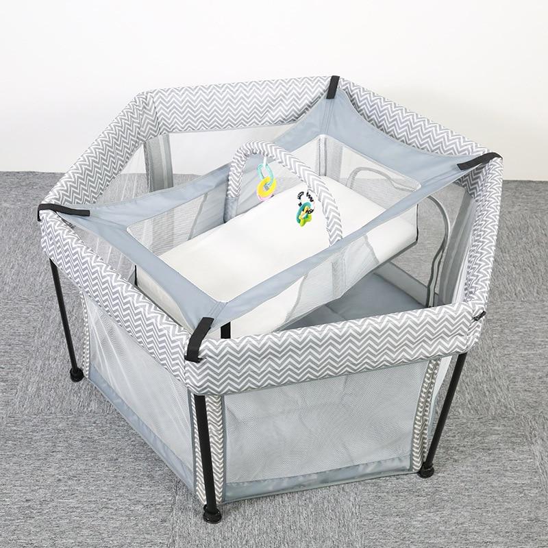 Baby Portable Crib Mesh Playpen Bed Dual-purpose Baby Toddler Crawling Hexagonal Folding 0-2 Years Old Two-layer Crib