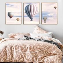 Hélium ballon à Air chaud rose ciel toile affiche mur Art paysage impression peinture décoration photo scandinave décor à la maison