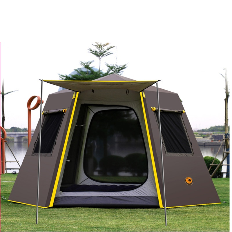 WolFAce Anti-UV Hexagonal Aluminum Pole Automatic Outdoor Camping Big Tent 4-6 Person Awning Recreational Picnic Outdoor Tool