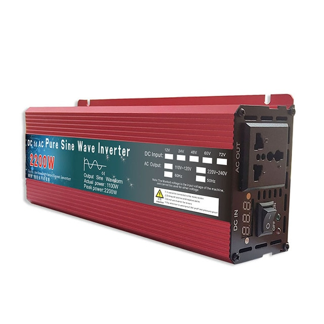 Pure Sine Wave Inverter DC 12v/24v To AC 110V/220V 1000W 1600W 2000W 3000W Voltage Transformer Power Converter Solar Inverter 2