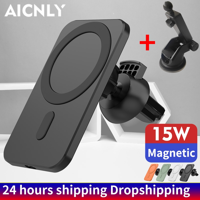 15W Magnetic Wireless Charger Car Wireless Chargers for magsafing Smart Phone Holder For iPhone12 Pr