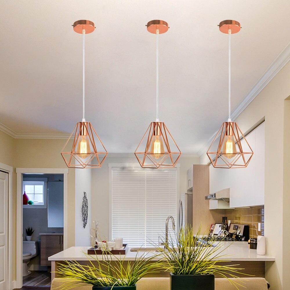 retro loft pingente lampadas industrial rosa ouro ferro luzes e27 led pendurado luz