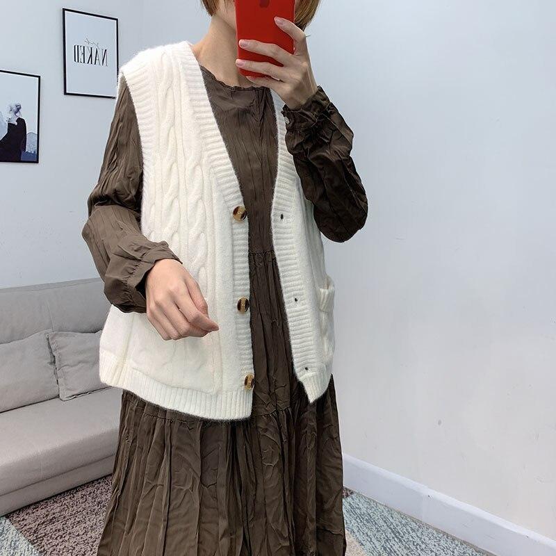 [Que es] 2019 invierno de estilo coreano con cuello en V de lino de Color de flor sin mangas de punto chaleco Cardigan Chaleco de mujer chaleco 251