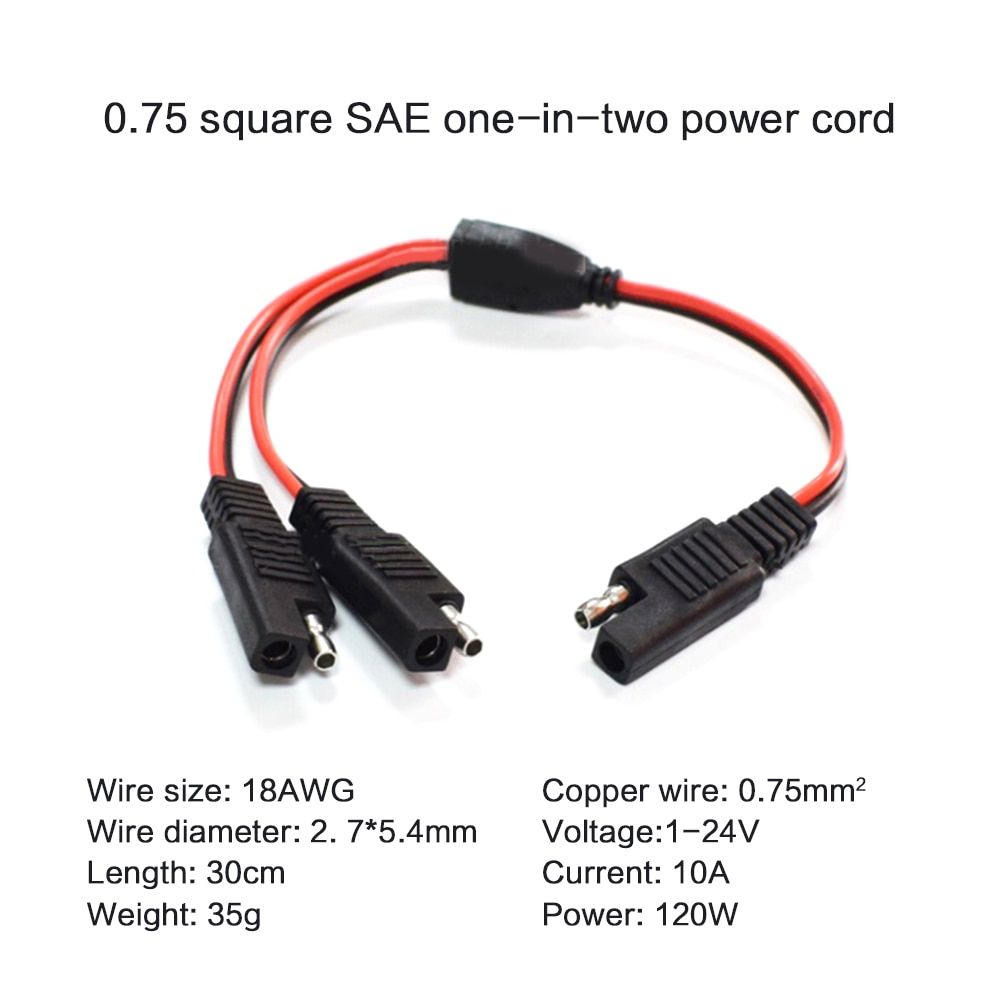 AliExpress - 1 to 2 SAE Extension Cable 18AWG 0.75 Square 30CM 2 Pin Quick Connect Disconnect Plug Copper Red Wire Plug Black Wire Socket