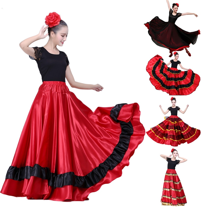 2020 Female Spain Carnival Party Stage Wear Flamenco Skirt Striped Plus Size Lace Belly Dance Costumes for Woman Spanish Dress