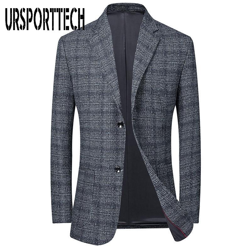 URSPORTTECH-سترة رجالية على الطراز الكوري ، بدلة ضيقة ، جودة عالية ، مقاس كبير ، نمط الشارع ، ربيع