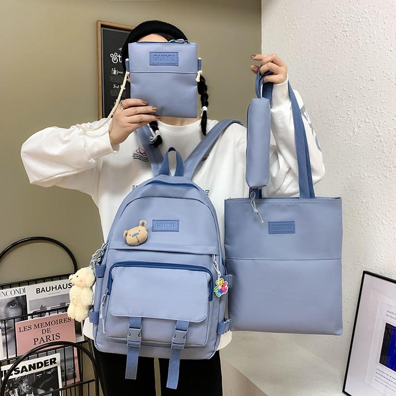 4 Pcs Set School Bag For Teenage Girls Women Backpack Kawaii School Bags For Student Canvas College