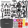 Vamson עבור GoPro גיבור 8 שחור אביזרי ערכות עם עמיד למים דיור מקרה חדרגל חצובה רצועת חזה Gopro 8 מצלמה VS156