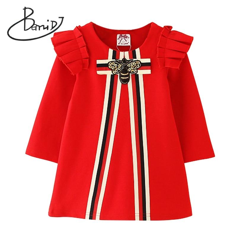 2019 kids party dress for kids girls clothing Long sleeve child dresses girls vestidos Children clothes princess striped dress