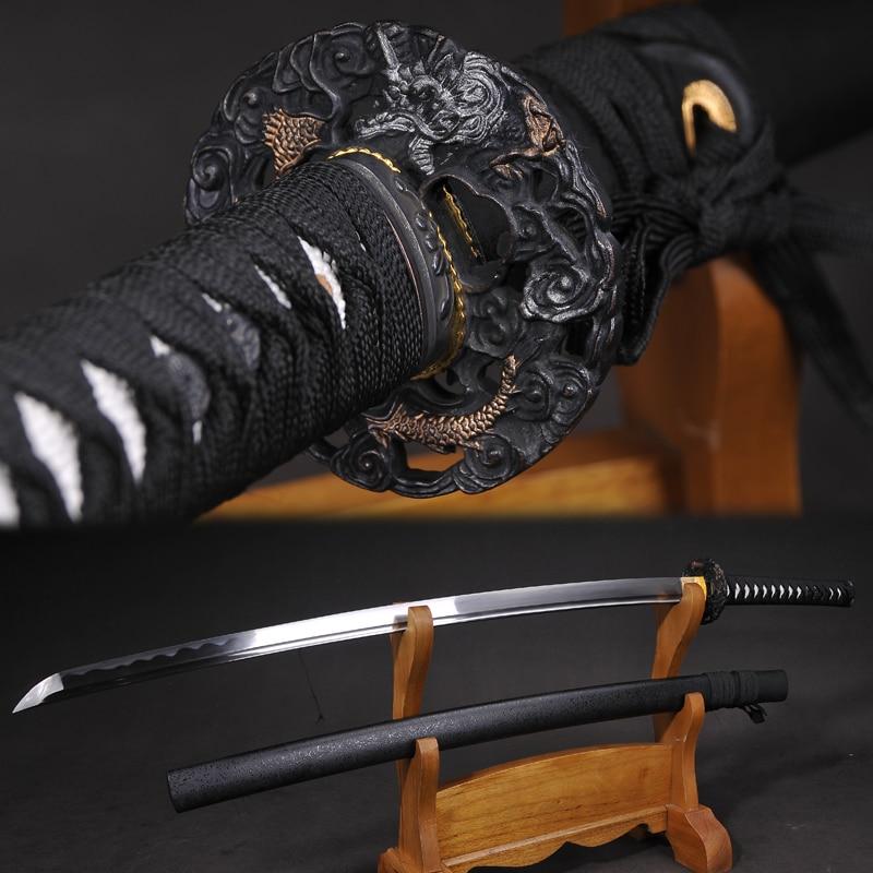 Japanese Katana 1045 Carbon Steel Blade Razor Sharp Real Swords Handmade Full Tang 41 Inch Black Dargon Swords