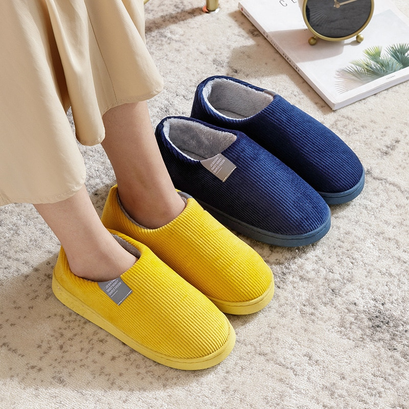 Women Winter Home Slippers Pure Colors Shoes Non-slip Soft Winter Warm House Slippers Indoor Bedroom for Lovers Couples