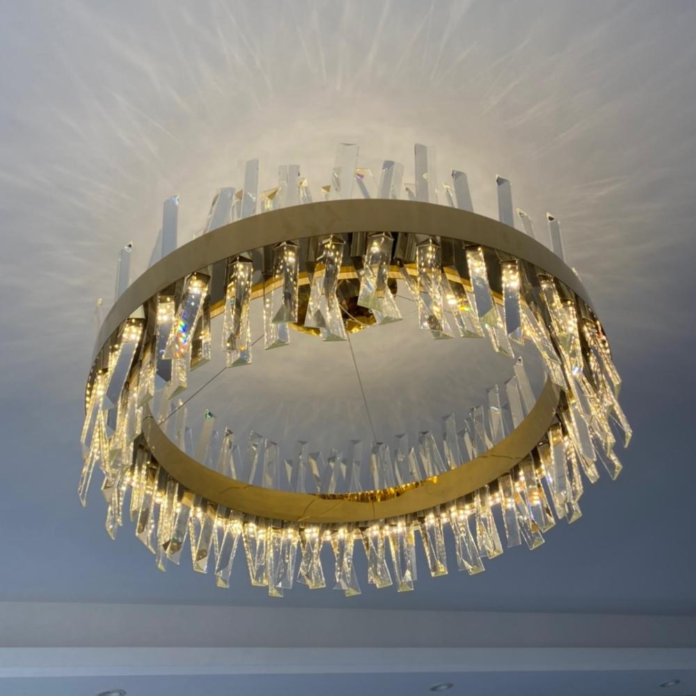 2021 Morden Led Kristall Kronleuchter Beleuchtung für Wohnzimmer Mit Gold / Chrom Poliert Edelstahl 110V / 220V Anhänger Lampe