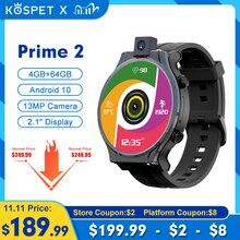 "KOSPET Prime 2 프라임 2 Smartwatch 남자 4G 안드로이드 10 시계 전화 4 기가 바이트 64 기가 바이트 Smartwatch 2020 GPS 13MP 카메라 1600mAh 2.1 ""남자 시계"