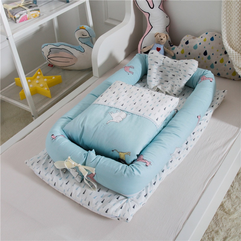 55x90cm Newborn Baby Nest Bed Portable Crib Travel Bed Baby Nest Bassinet Bumper with Pillow Cushion Cotton Babynest Bassinet enlarge